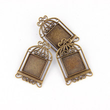 New Fashion Bird Cage Brooch Base Antique Bronze Plated Zinc Alloy Square Base Setting For DIY Handmade Printerest Crafts(China)