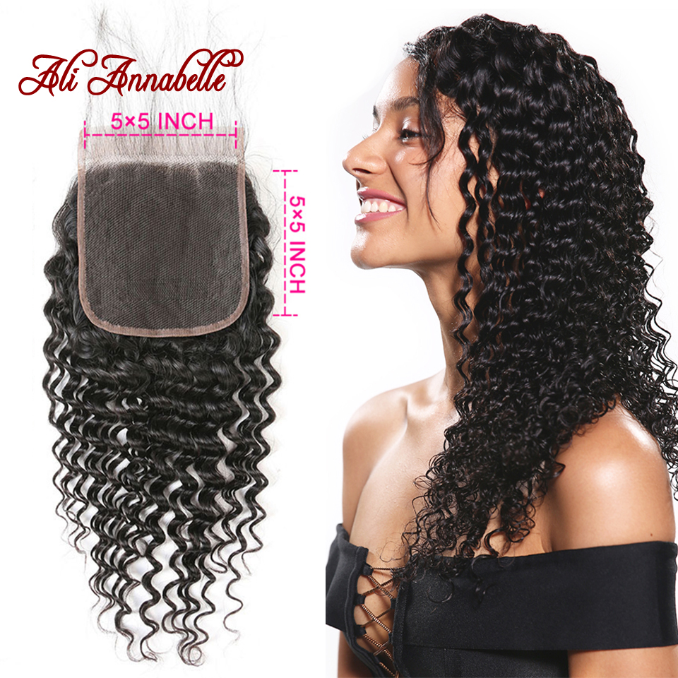 5 5 Lace Closure Brazilian Hair Deep Wave Swiss Lace Closure 100 Human Hair Natural Color