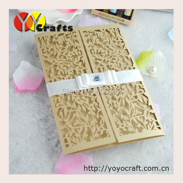 Handmade Arabic Wedding Invitation Cards Champagne Gold Laser Cut  Decorative Wedding Invitations Card(China)