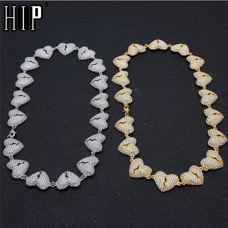В стиле «хип хоп» Полный Стразы льдом сердце цепи Цепочки и ожерелья Длина черного золота CZ Bling Цепочки и ожерелья s для Для мужчин Для женщин
