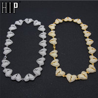 Hip Hop Full Rhinestones Iced Out Heart Chain Necklace Length Gold Paved CZ Bling Necklaces For Men Women Jewelry 18/20inches