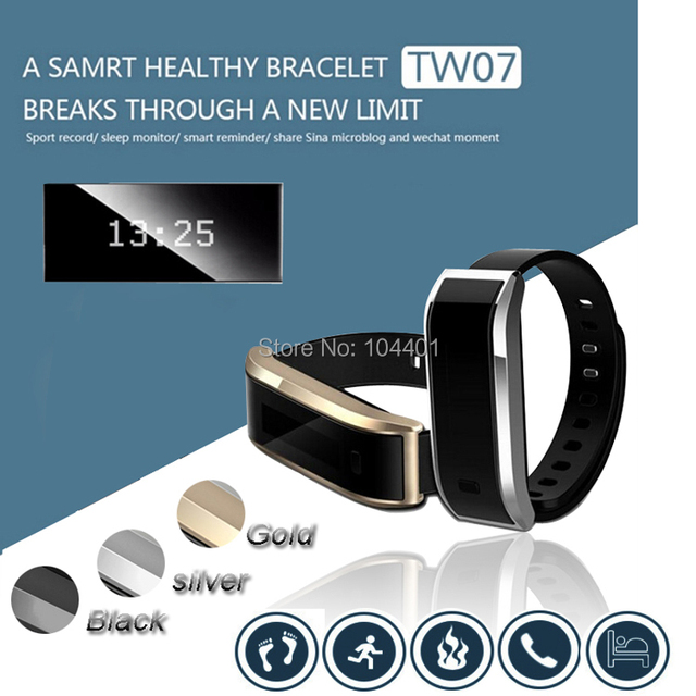 TW07 Smart Band Bracelet For Android 4.3 IOS 7.0 Waterproof IP-X6 Tracker Fitness Wristbands Smart Watch