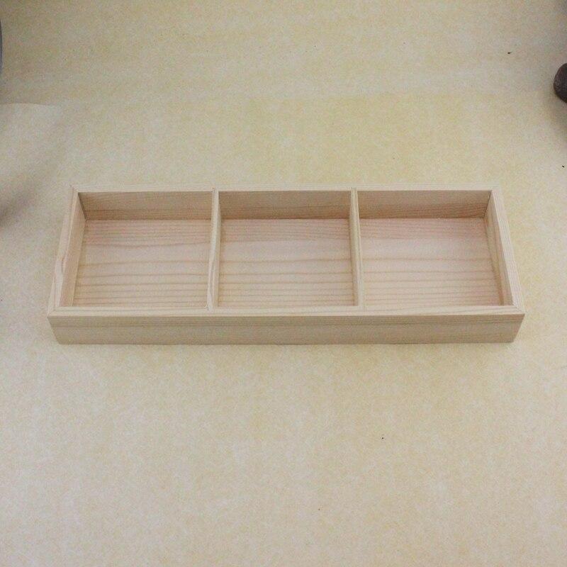 New design eco friendly three wooden lattice Wooden original color desktop storage box for ceramic pots