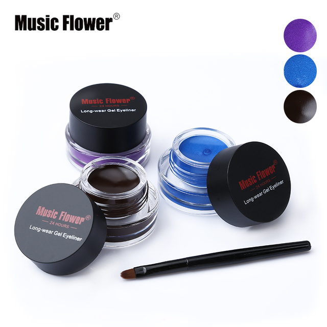 New Brand Music Flower Black Waterproof Eyeliner Gel Makeup Cosmetic Gel Eye Liner With Brush 24 Hours Long-lasting For Women