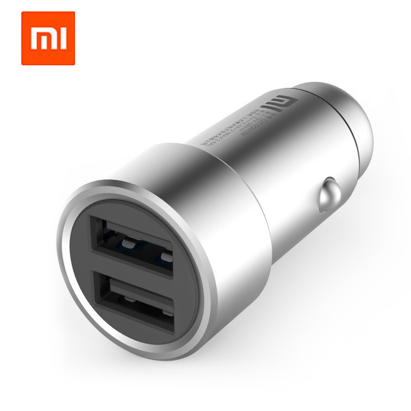 100 Original Xiaomi Car Charger Mi 2 in 1 Silver Fast Charging Car Charger Mobile for