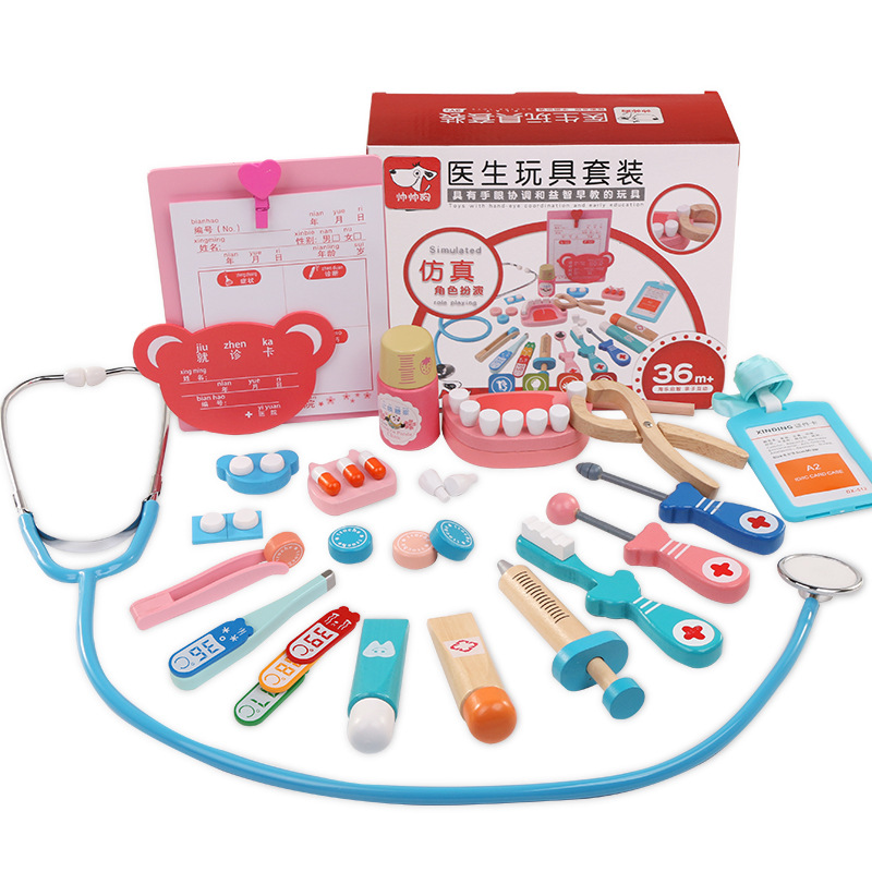 Logwood bébé jouet drôle jouer vraie vie Cosplay 20 pièces docteur dentiste médecine boîte prétendre dokter speelgoed en bois jouet enfants jouets