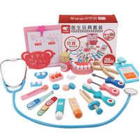 Logwood juguete del bebé gracioso de la vida Real Cosplay 20 piezas médico dentista caja de medicina que dokter speelgoed de juguete de Madera Juguetes de los niños