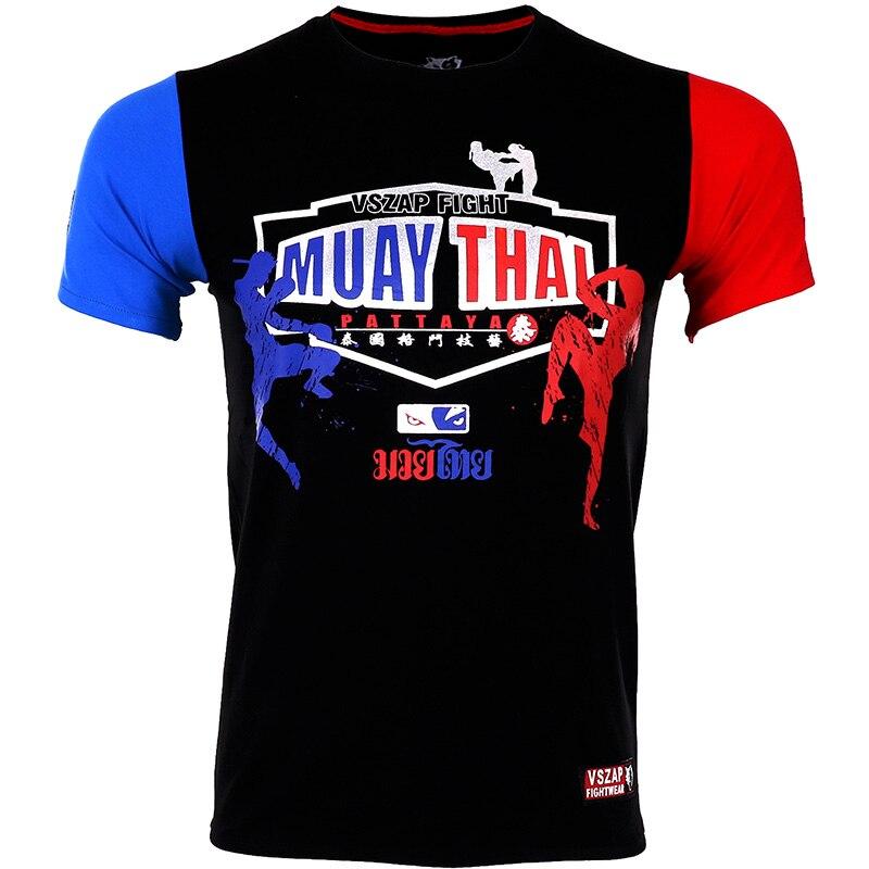 VSZAP Muay Thai Wulin T Shirts MMA Fitness Sweater Boxing Jerseys Muay Thai Jerseys MMA Jersey Arts Fitness T Shirt Men Homme