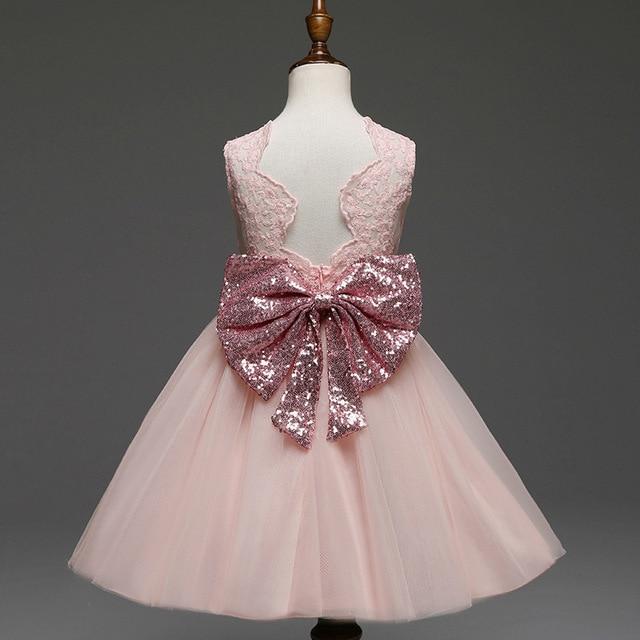 0c6681a8763d 2018 summer sequins kids dress big tie bow girl princess dress ...