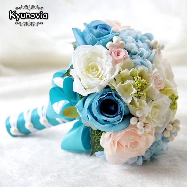 Kyunovia mint blue wedding bouquets artificial silk flowers wedding kyunovia mint blue wedding bouquets artificial silk flowers wedding decorations roses wedding bridal bouquet with berries mightylinksfo