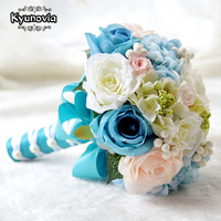 Kyunovia Mint Blue Wedding Bouquets Artificial Silk Flowers Wedding Decorations Roses Wedding Bridal Bouquet with Berries FE52