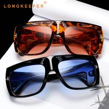 LongKeeper Fashion Oversized Sunglasses Women Luxury Flat top Big Sun Glasses For Female Retro Punk Gafas sol mujer