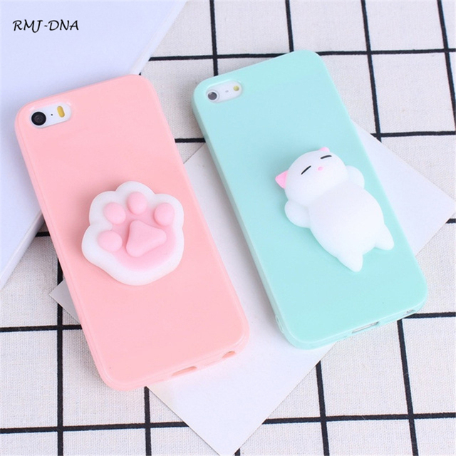 888662d200 Squishy Soft 3D Phone Case For Iphone 6 6S Cute Cartoon Cat Panda Silicone  Cases Cover For Iphone 7 Plus 7 6 6 5 5S SE Case Cove