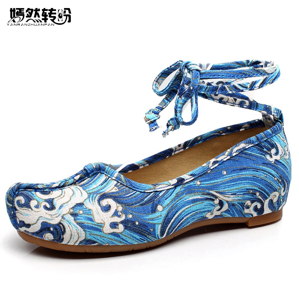 Vintage Women Flats Shoes Blue Waves Casual Canvas Ballet Flat Ankle Strap Lady Soft Dance Shoes Zapatos Mujer 34-41 lucyever women vintage square toe flat summer sandals flock buckle casual shoes comfort ankle strap women footwear mujer zapatos