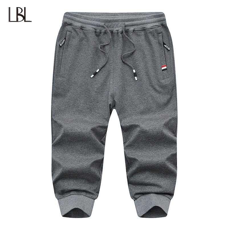 LBL Summer Solid Mens Shorts Casual Fashion Jogger Knee Length Sweatpants Men Fitness Clothing Elastic Waist Short Trousers Male