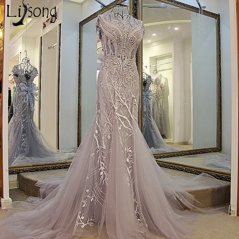 Abiye Luxury Long Mermaid   Evening     Dresses   Beaded Crystal   Evening   Gowns Big Bow Lace Embroidery Dusty Gray Robe De Soiree Longue