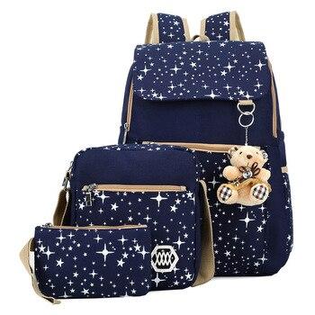 3pcs/set Women Backpack School Bags Star Printing Cute Backpacks With Bear For Teenagers Girls Travel Bag Rucksacks Mochila Kids & Baby Bags