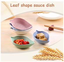 Kitchen Tableware Multipurpose Leaf-Shape Small Seasoning Saucers Kid Bowl Wheat Straw Sauce Dish Japanese Tableware Plates(China)