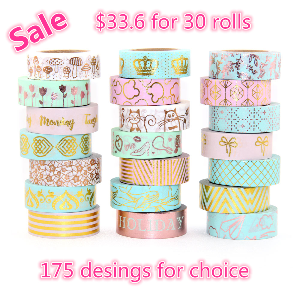175patterns for choice 30rolls/lot diy Masking tape Flower Print Deco DIY Sticker Adhesive Japanese Christmas