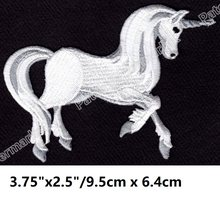 Awesome Detail UNICORN WHITE   GRAY PEGASUS FANTASY MYTH patches outdoor  travel national park Embroidered iron on for dress 6edd3d8b083d