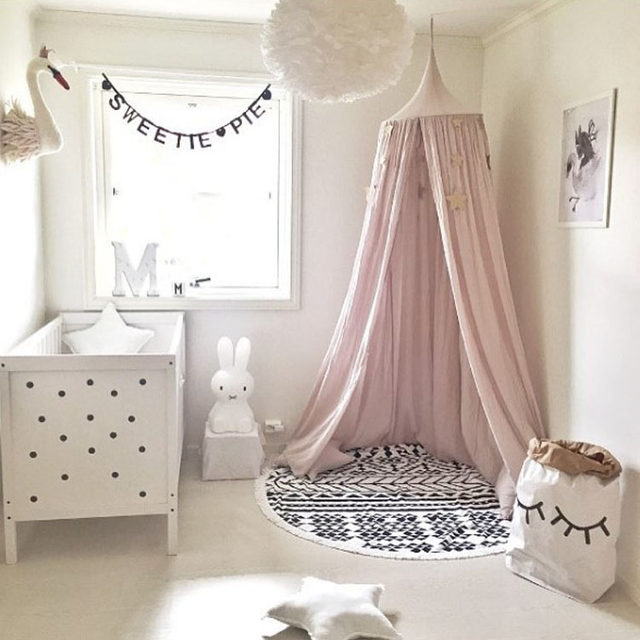Beige Weiß Grau Rosa Kinder Jungen Mädchen Prinzessin Baldachin Bett Volant  Kinderzimmer Dekoration Baby Bett Runde Moskitonetz Zelt Vorhänge