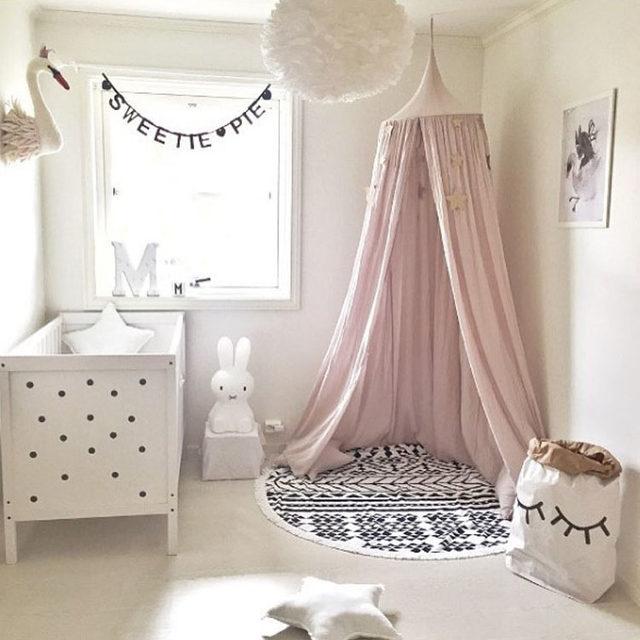 Beige Weiß Grau Rosa Kinder Jungen Mädchen Prinzessin Baldachin Bett Volant Kinderzimmer  Dekoration Baby Bett Runde Moskitonetz Zelt Vorhänge