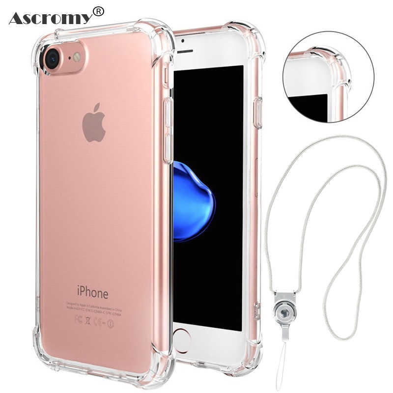 Ascromy Shockproof Phone Case for iPhone 6 6s 5 5S SE 7 Plus X Case Silicone Luxury Soft TPU Back Cover with Lanyard Neck Strap