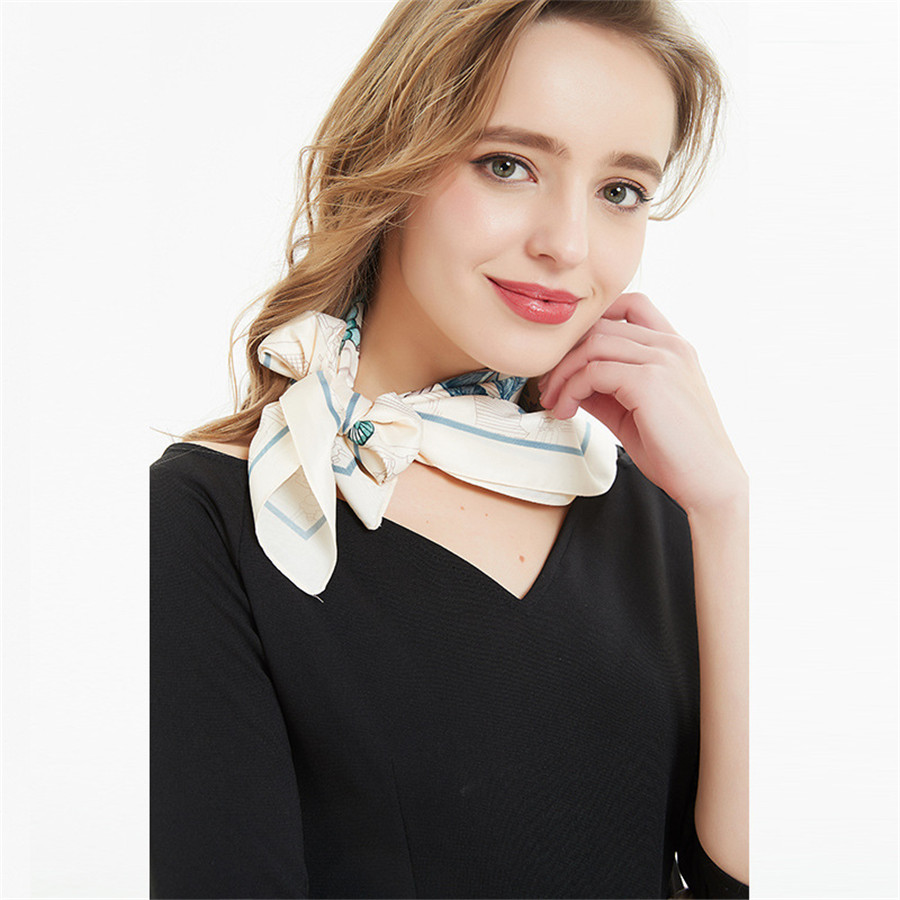 Soft Polyester Silk Dress Scarves For Women Fashion Print Soft Lacy Flowers On Different Color Bed Head Scarf Scarf Hair Band Sun Neckerchief Multiple Ways Of Wearing Daily Decor