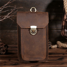 YISHEN Genuine Leather Men Waist Packs Vintage Fanny Bag Male Hook Belt Bags Retro Leather Men Phone Packs Cash Card Bags B2089