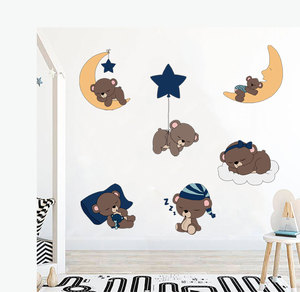 Cartoon Cute Bear With Star Moon Color Wall Sticker For Nursery Baby Bedroom Lovely Animal Vinyl Wall Decals Poster Home Decor(China)