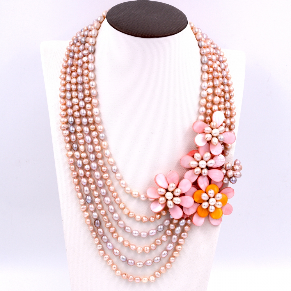 Free Shipping NEW!! Natural light pink freshwater pearl and pink flower statement necklace Brand Jewelry 2017Free Shipping NEW!! Natural light pink freshwater pearl and pink flower statement necklace Brand Jewelry 2017