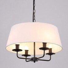 Moderne Salon Couloir Escalier Lustre Lumière Noir Fer Blanc/Lin Tissu Abat-Jour Suspension Lampe E14 110-240 V