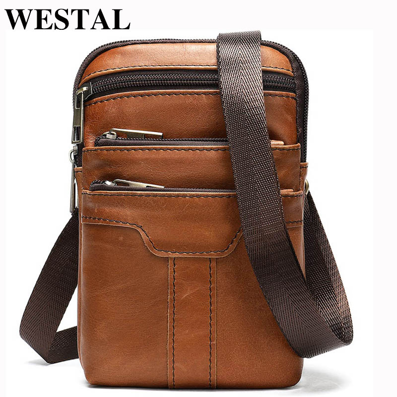 WESTAL Mini Shoulder Bag For Men Small Messenger Bag Men's Genuine Leather Crossbody Bags Belt Men Leather Phone Bags Flap 8326