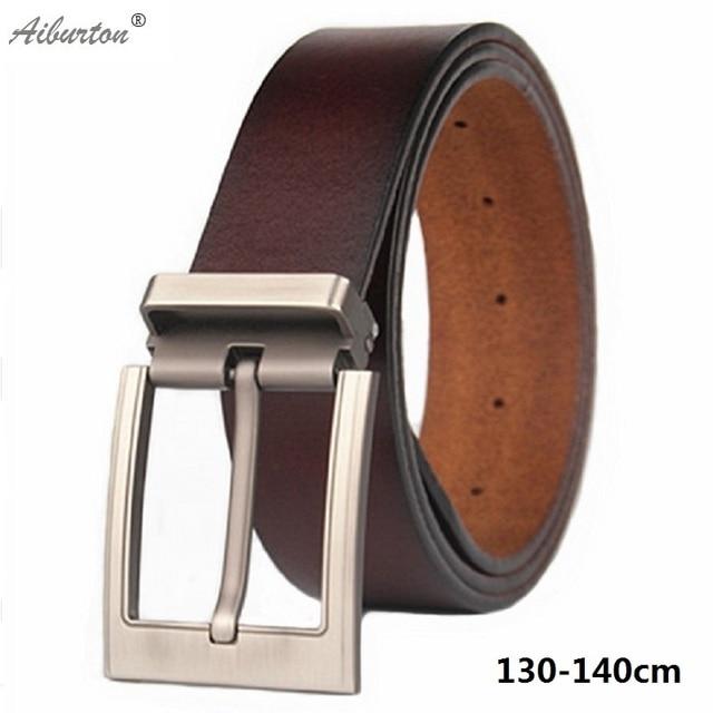 140 cm de long hommes en cuir véritable grande taille ceinture classique  casual designer broches bouton 3ae05ca9ee1