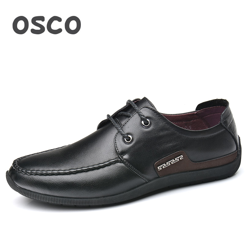 OSCO Formal Men Shoes Summer Business Casual Shoes Men Wild Lazy Shoes Genuine Leather Breathable Lace-up Brand Shoes Male osco spring summer business casual shoes wild lazy shoes british genuine leather breathable bean shoes men driving pedal loafer