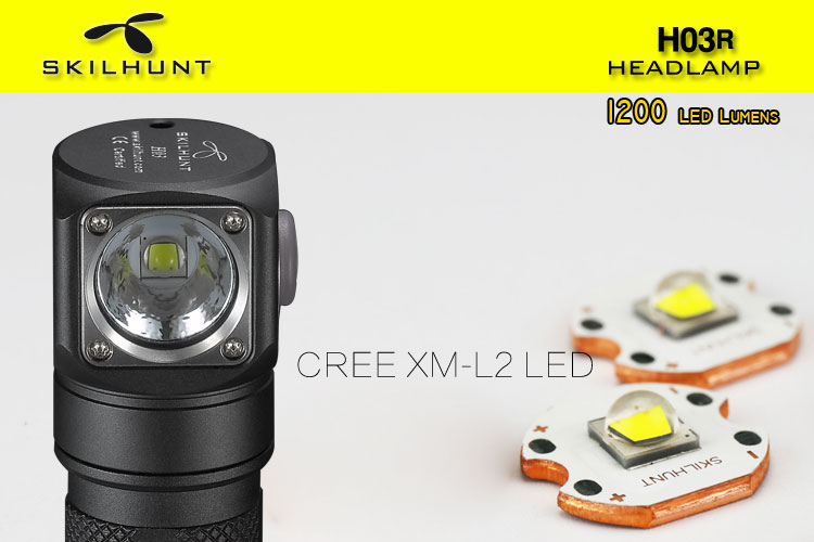 Nouveau Skilhunt H03 H03R H03F Led Lampe Frontale Cree XML1200Lm phare chasse pêche Camping phare + bandeau - 5