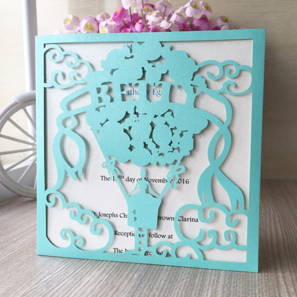 50pcs Square Tiffany Blue Laser Cut Lace Sweets Invitations Cards