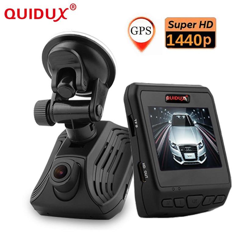 QUIDUX Car DVR Hidden Dash Cam Ambarella 2.31 Inch GPS HDR 1440P ADAS WDR HDMI G-sensor Night Vision Car Driving Recorder