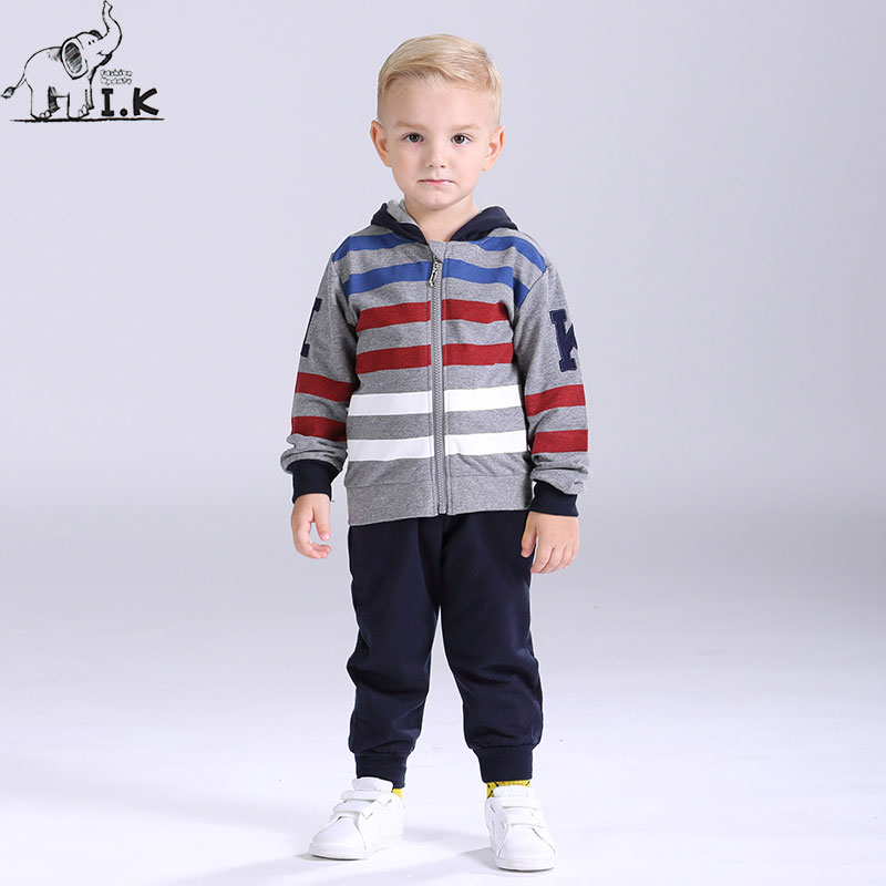 I.K Boy Tracksuit Spring Autumn Hooded Stripe Long Sleeves Children Clothing Set Sport Suit For Kid Fashion 2pcs Outwear AS1004 spring autumn fashion children clothes full sleeve t shirt and pants 2pcs handsome gentleman suit boy clothing set kid tracksuit