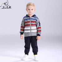 I K Boy Tracksuit Spring Autumn Hooded Stripe Long Sleeves Children Clothing Set Sport Suit For