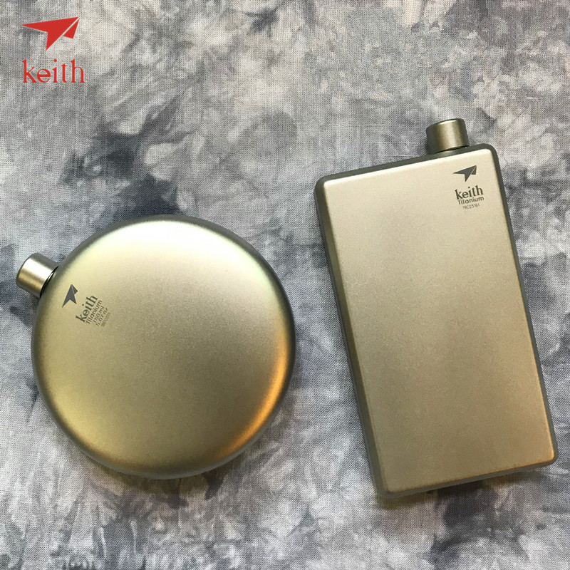 Keith Titanium Hip Flask Flagon Portable Wine Whisky Pot Sports Flagon Pure Titanium Wine Pot With