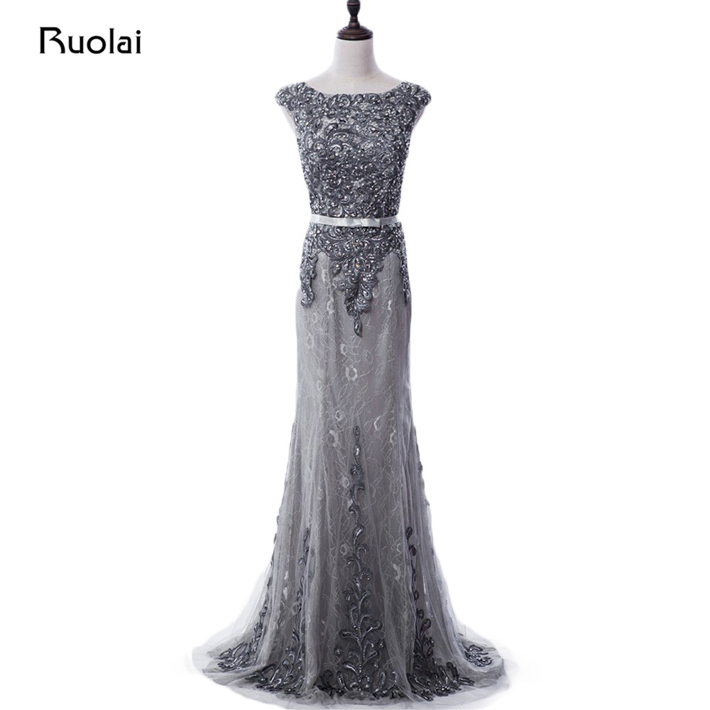 Real Photo Grey Evening Dress 2017 Luxury Beaded Applique Mermaid - Särskilda tillfällen klänningar