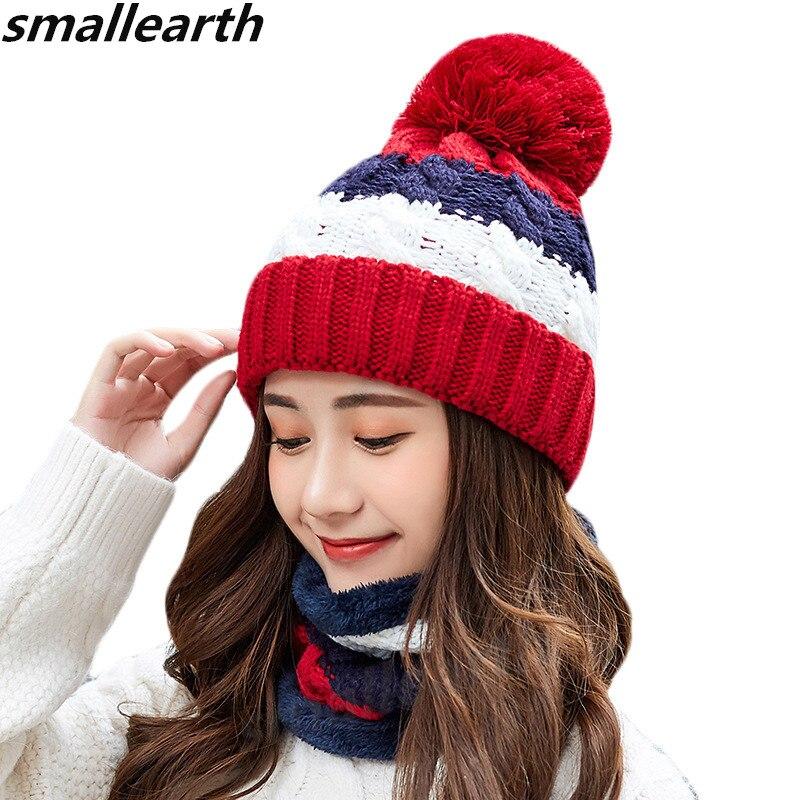 Winter Plush Knitted Hat Set Women's Knitted Hats Scarf Female Warm Fleece Caps Neck Warmer For Women   Skullies     Beanies   Collar