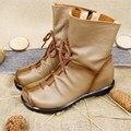 2017 de Alta Calidad Zapatos de Mujer Chaussure Botas de Cuero Genuino de Las Mujeres Ocasionales de Las Señoras Martin Invierno Botas Planas tamaño Empuje 35-42