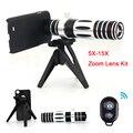 Mais novo 5x-15x lentes zoom telefoto telescópio lente do telefone capas para iphone 4 5 6 s além de 7 samsung s4 s5 s6 s7 edge note 5 tripé