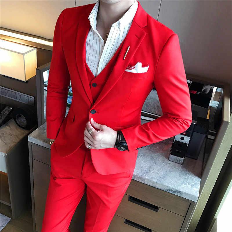 (ジャケット + ベスト + パンツ) メンズスーツ無地メンズクラシックスーツ赤ウェディングスーツ黒、白、青スリム新郎のウェディングドレス