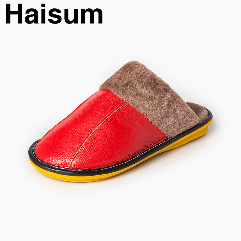 Ladies Slippers Winter genuine Leather Thick With Plush Home Indoor Non-slip Thermal Slippers 2018 New Hot Sale Haisum H-8003 plush home slippers women winter indoor shoes couple slippers men waterproof home interior non slip warmth month pu leather