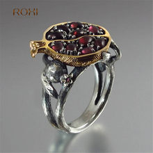 Charm Trendy Natural Round Red Garnet Ring Romantic Pomegranate Band for Women Girlfriend MuM Wedding Engagement Jewelry Z4(China)