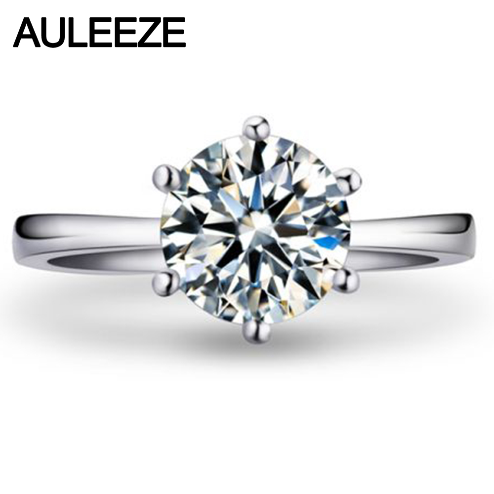 Classic Solid 9K White Gold Engagement Ring Brilliant 1CT Simulated Diamond Wedding Rings For Women Diamond Solitaire Ring