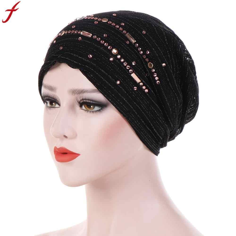 656f0b25908 Women Winter Hats 2018 New Fashion Rhinestone India Hat Muslim Ruffle Cancer  Chemo Beanie Turban Wrap